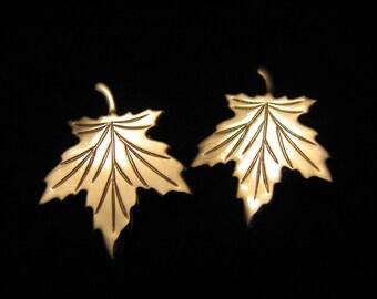 Vintage Silver Tone Shiny Maple Leaf Clip Earrings