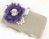 Linen Clutch, Handbag, Wedding, Bridesmaids, Maid of Honor, Shabby Chic, Rustic, Ivory, Silver, Purple, Lace, Pearls, Vintage Style, Elegant