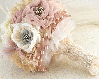 Brooch Bouquet,  Vintage Wedding, Ivory, Champagne, Tan, Blush, Dusty Rose, Feather Bouquet, Lace, Pearls, Crystals, Elegant Wedding