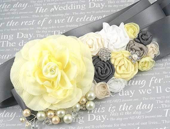 Sash - Bridal Sash in Pale Yellow, Cream, White and Dark Grey with Satin and Silk Flowers, Jewels, Pearls
