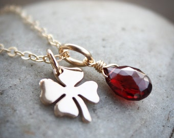 Gold Red Garnet Necklace - January Birthstone Necklace - Clover charm