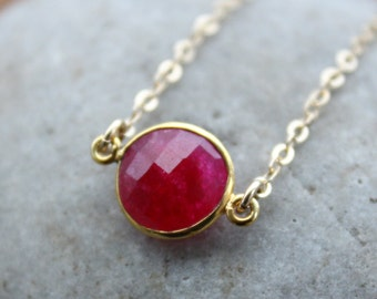 Gold Ruby Quartz Bezel Necklace - Small Pendant - Gold Filled