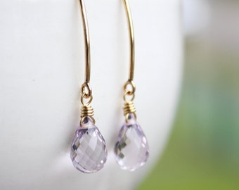 Gold Lilac Pink Amethyst Gemstone Earrings - Hook Earrings - 14KT Gold Fill