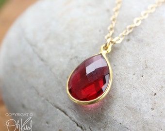 Gold Red Ruby Quartz Teardrop Necklace - 14K Gold Fill - Cranberry
