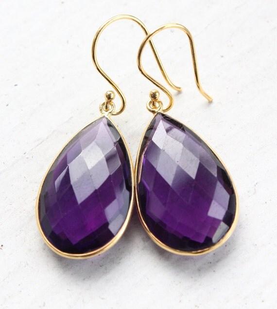 Gold Purple Amethyst Earrings - Quartz, Teardrops - Bridesmaids Earrings, Royal Purple