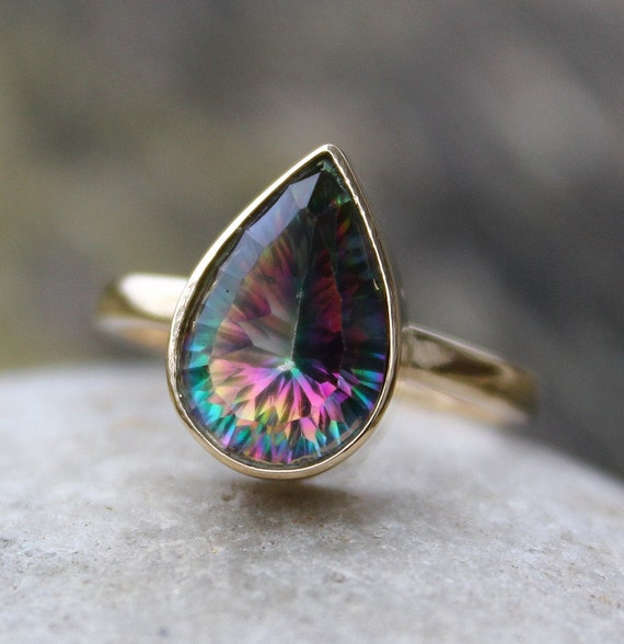 Gemstones For Rings: Fire Mystic Topaz Teardrop Ring Solid 10KT Gold Gemstone