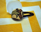 Rustic floral and vine pattern button barrette with chestnut accent for baby girl or toddler