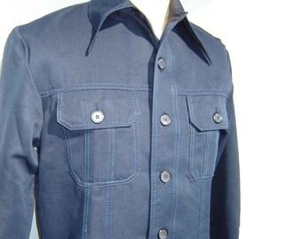 Vintage Rockabilly Jacket Mens Sport Shirt Navy Blue Master Jac L - NOS