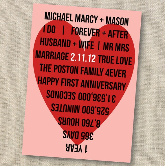 first wedding anniversary 1st year marriage countdown frameable art paper gift