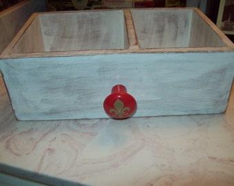 White storage box red fleur de lis knob,Paris decor,Paris theme,Paris bedroom decor,Fleur de lis party decor,Paris wedding decor
