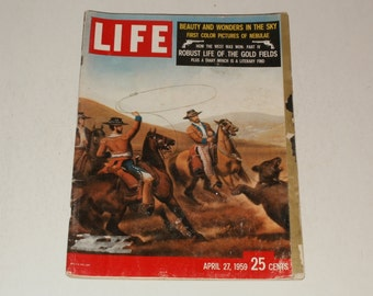 Vintage Life Magazine April 27 1959 - How the West was Won Cover, Collectible, Paper Ephemera , Scrapbooking