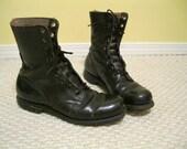 Vintage 60's combat boots black leather size 9 men, size 10 1/2 women