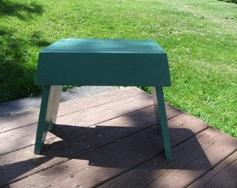 Vintage Wooden Stool Handmade Farm House stool Green wooden bench stool