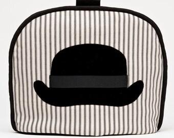 Tea Cozy / Cosy - British Bowler Hat Black Velvet Applique on Black and Cream Ticking