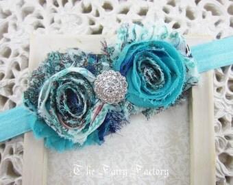 Aqua / Turquoise Flower Headband, Aqua & Navy Blue Vintage Headband, Chiffon w/ Crystal Center Headband, Baby Toddler Child Girls Headband