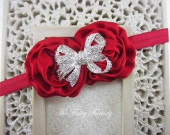 Red Flower Headband , Red Satin Rosette Duo w/ Large Rhinestone Bow Headband, Christmas Headband, Baby Toddler Child Girls Headband