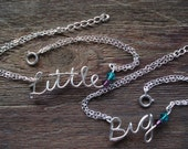 "Set of two (""Big"" and ""Llittle"") Sorority Personalized bracelet...handmade name, word in sterling silver, sisters, birthday, college jewelry"