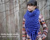 Chunky Cowboy Bandana Scarf in Cobalt Blue - Blanket Scarf, Holiday Gift,