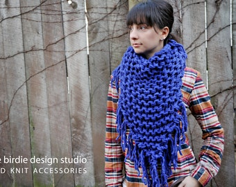 Chunky Cowboy Bandana Scarf in Cobalt Blue - Blanket Scarf, Holiday Gift,