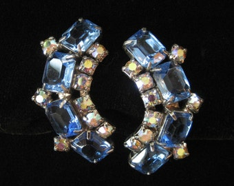 Blue Rhinestone Curved Earrings, AB Accents