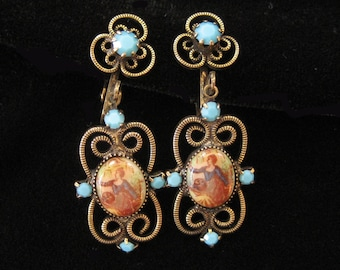 Turquoise Rhinestone Scene Transfer and Scroll Earrings