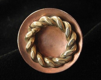 Copper Ring with Brass Rope Detail, Adjustable Size