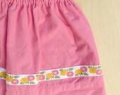 Little Girls Bubblegum Pink Valentine Skirt with Vintage Ribbon size 4T Eco Friendly