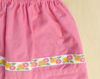 Little Girls Bubblegum Pink Valentine Skirt with Vintage Ribbon size 4T Eco Friendly