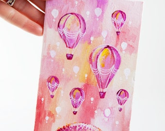 Hot Air Balloons Art, Baby Girl Room Canvas, Tiny Painting, Original Illustration Art, Pink Balloon Art, Girls Room Artwork, Gifts For Her