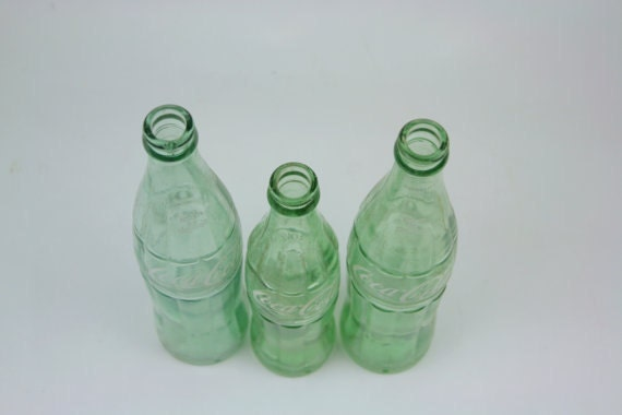 Vintage Coca Cola Coke Brand Glass Bottles Set Three Collectibles