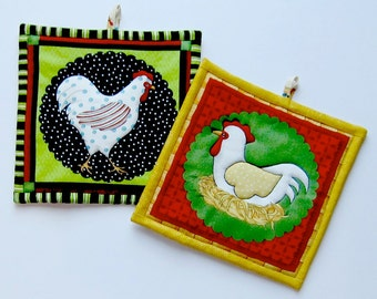 Fanciful Funky Chicken Set of Two Pot Holders
