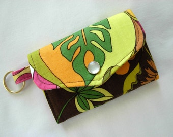 Card Case Key Ring Tri Fold Designer Fabric Multi Color Pinks Greens Gold Brown