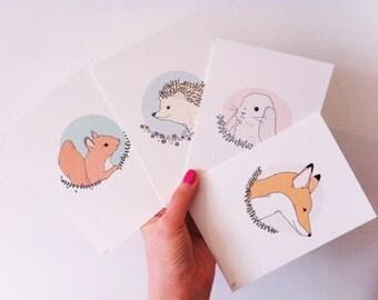 Woodland Creatures Mini Prints - Set of Four