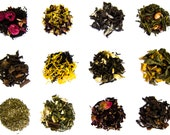 You Pick Tea Sampler Set - 12 Flavors - Green Tea, Oolong Tea, Black Tea, Yerba Mate, Tisanes, Flowers, Pu erh