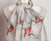 Mother Day Present Unique Hand Painted Silk Scarf with Red Cardinal Birds in Snow Winter Scarf Red Grey White 13 X 51.