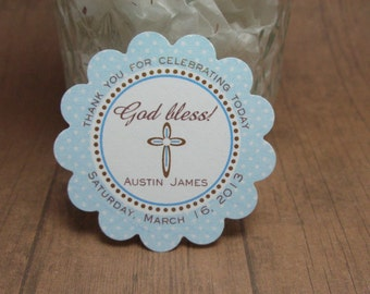 BAPTISM tags -  blue polka dot - larger 3 inch size -  by Just Scraps N Things