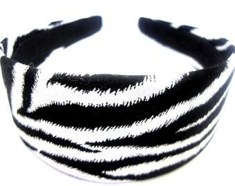 Black &  White Zebra Print Headband 2 Inch