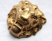 2 Vintage Brass Lion Heads // 1960s