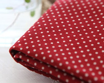 A Yard of Dots on Red Wine Linen Blended WIDE 145cm, U7042