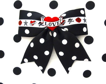 Tattoo Love Heart Black Polka Dot Hair Bow - Rockabilly - Retro - 50s