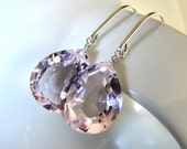 Pink Earrings, Morganite Pink Quartz Earrings, Sterling Silver, Morganite Pink, Sparkly, Dangle - In the Pink