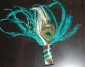 Teal boutonniere for a groom, groomsmen pin