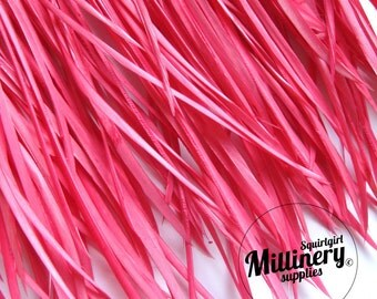 Pink Goose Biot Feather Fringe, 5 Inch Piece (30 or More Feathers) for Millinery and Craft