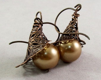 Copper Filigree Horn and Glass Pearl Earrings