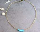 Reserved list for Martha. Turquoise bracelet with simple chain and turquoise earrings. Sterling silver