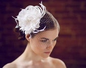 Peony Hair Flower - Bridal Hair Flower with Feather Accents - Bridal Headpiece Feathers - Wedding Flower Hair Clip