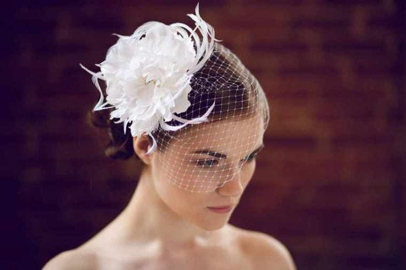 Flowers For Hair Wedding Australia : Peony hair flower bridal with feather accents