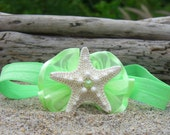 Starfish Infant/Toddler Headband-Key Lime-Starfish Headbands,Beach Weddings, Flower Girls, Little Mermaid Costume, Photo Prop
