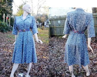 80s Dress /Vintage Dress/ Vintage Shirt Dress/ Gray Dress /Print Dress by Willi of California with Wide Pleated Skirt Size 8