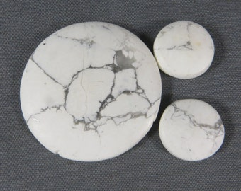 White Howlite Natural Cabochons focal earrings 3 pc set
